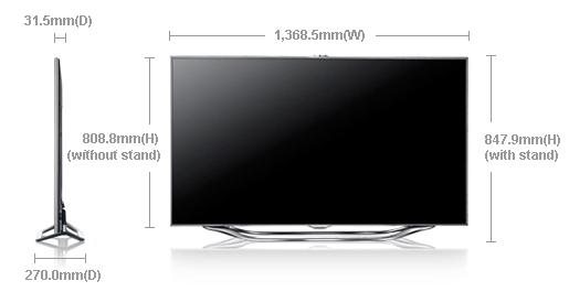 samsung ua 60es8000 60 smart multi system 3 d led tv with 800 hertz voice and motion control. Black Bedroom Furniture Sets. Home Design Ideas