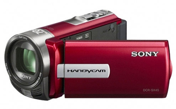 Sony DCR-SX45ER PAL Camcorder with 60X Optical Zoom Red