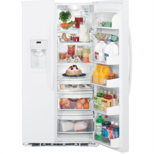 GE 220-240 Volt 50 Hertz 25 cu. Ft. side/side White Color Refrigerator GSE25MGYC WW