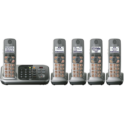Panasonic KX-TG7745S-220 five handset 220-240 volts 50/60 hz cordless phone