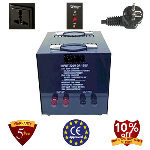 TC-15000A-U/D 15,000 Watt Step Up/ Down Voltage Converter Transformer, 5 Year Warranty, 110 to 220 or 220 to 110 - 110/120/220/240 V