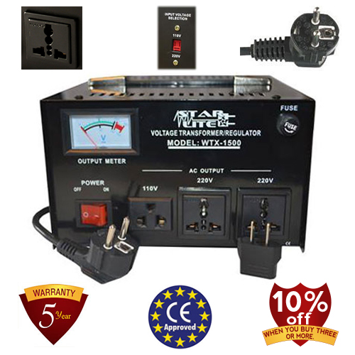TC-1500D 1500 Watt Step UP and Down Voltage Transformer/Regulator