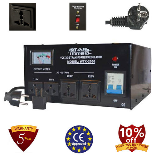 TC-2000D 2000 Watt Step Up/ Down Voltage Converter Transformer Automatic Voltage Regulator, 5 Year Warranty, 110 to 220 or 220 to 110 - 110/120/220/240 V
