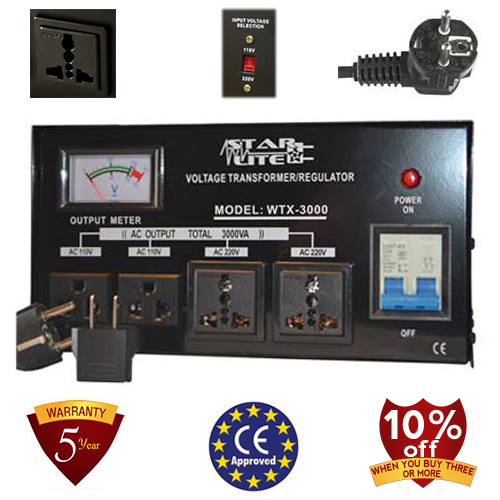 TC-3000D 3000 Watt Step Up/ Down Voltage Converter Transformer Automatic Voltage Regulator, 5 Year Warranty, 110 to 220 or 220 to 110 - 110/120/220/240 V