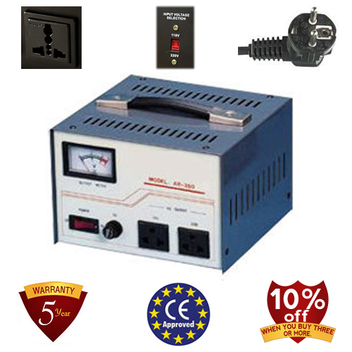 350 Watt Step Up/ Down Voltage Converter Transformer, Automatic Voltage Regulator, 5 Year Warranty