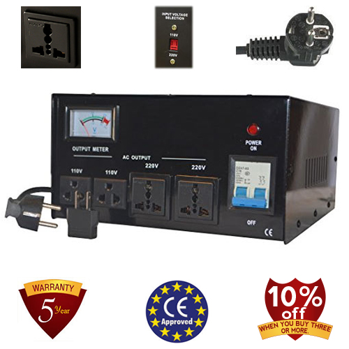 TC-4000D 4000 Watt Step Up/ Down Voltage Converter Transformer Automatic Voltage Regulator, 5 Year Warranty, 110 to 220 or 220 to 110 - 110/120/220/240 V