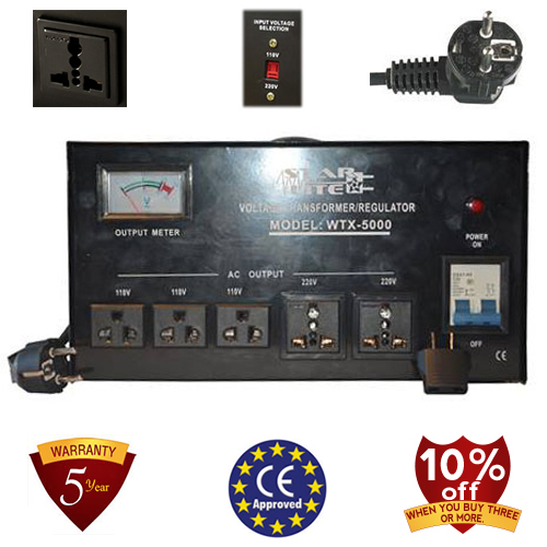 TC-5000D 5000 Watt Step Up/ Down Voltage Converter Transformer Automatic Voltage Regulator, 5 Year Warranty, 110 to 220 or 220 to 110 - 110/120/220/240 V
