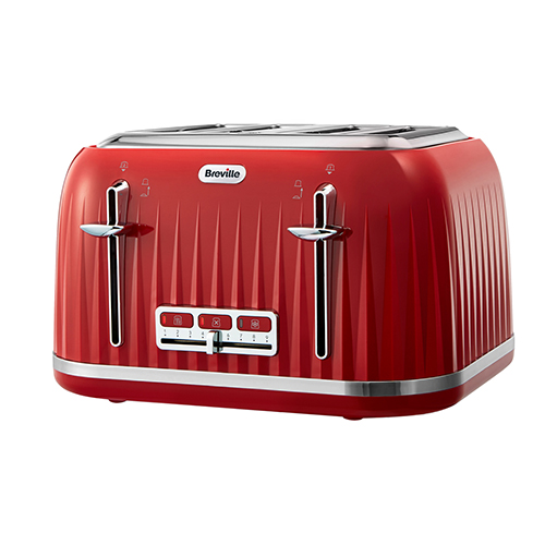Breville VTT783 Red Color Impression Collection Toaster - 4 Slice Capacity - Reheat, Defrost, and Cancel Function - Variable Beowning Control -