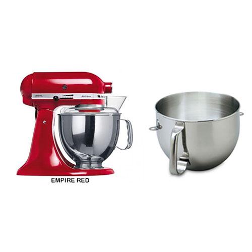 Kitchen Aid 5KSM150PSE 220-240 Volt 50 Hz 5 Qt Stand Mixer With 6 Qt SS Bowl, Handle KN2B6PEH