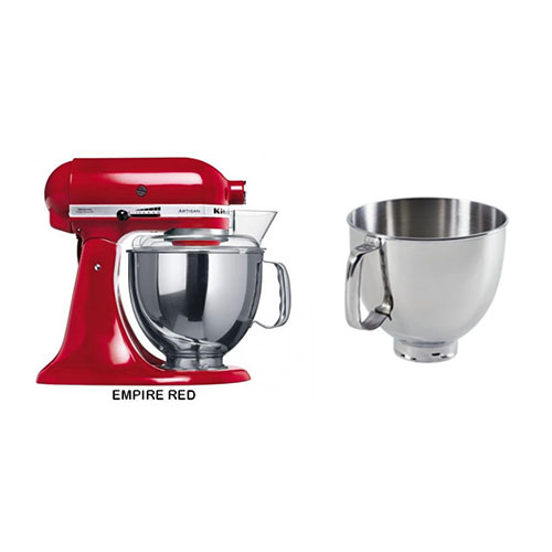 Kitchen Aid 5KSM150PSE 220-240 Volt 50 Hz 5 Qt Stand Mixer With Artisan Bowl 5 Qt Polished SS, Handle K5THSBP