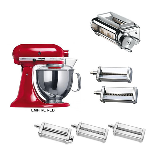 Kitchen Aid 5KSM150PSE 220-240 Volt 50 Hz 5 Qt Stand Mixer With KPEX Pasta Execellence Set KPCA, KPSA, KPRA and KRAV
