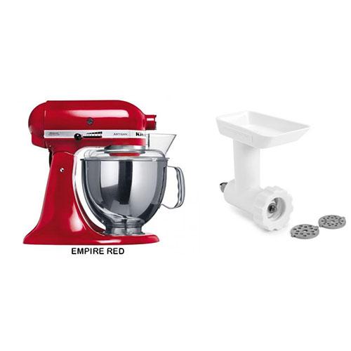 Kitchen Aid 5KSM150PSE 220-240 Volt 50 Hz 5 Qt Stand Mixer With Food Grind FGA Attachment