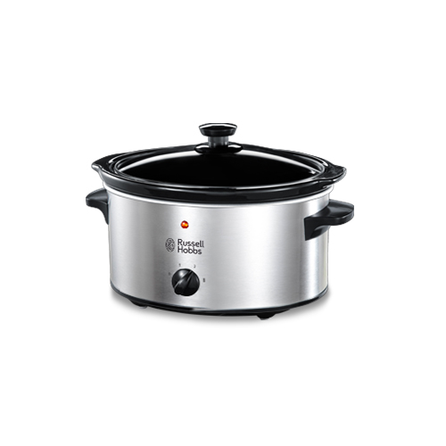 Russell Hobbs 23200  3.5 Liter Stainless Steel Slow Cooker - 3 Heat Settings - Glass Lid - Ideal Family Size -