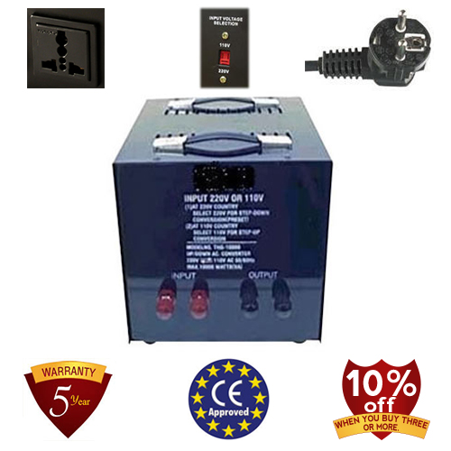 10,000 Watt Step Up/ Down Voltage Converter Transformer, 5 Year Warranty 110 to 220 or 220 to 110 - 110/120/220/240 V