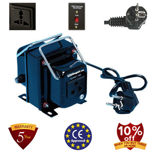 TC-1000A 1000 Watt Step Down Voltage Converter Transformer, 5 Year Warranty, Fuse Protection 220 to 110
