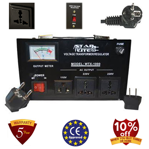 TC-1000D 1000 Watt Step Up/ Down Voltage Converter Transformer Automatic Voltage Regulator, 5 Year Warranty, Fuse Protection