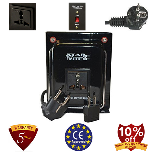 TC-1500A-U/D 1500 Watt Step Up/ Down Voltage Converter Transformer, 5 Year Warranty, Fuse Protection 110 to 220 or 220 to 110 - 110/120/220/240 V
