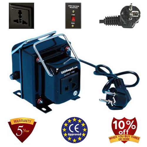 TC-300A 300 Watt Step Down Voltage Converter Transformer, 5 Year Warranty, Fuse Protection 220 to 110 V