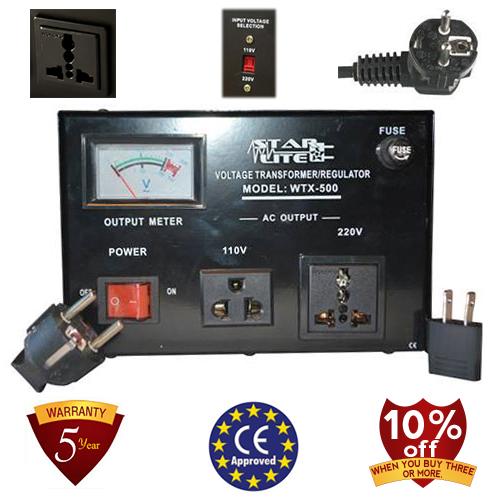 TC-500D 500 Watt Step Up/ Down Voltage Converter Transformer, Automatic Voltage Regulator, 5 Year Warranty
