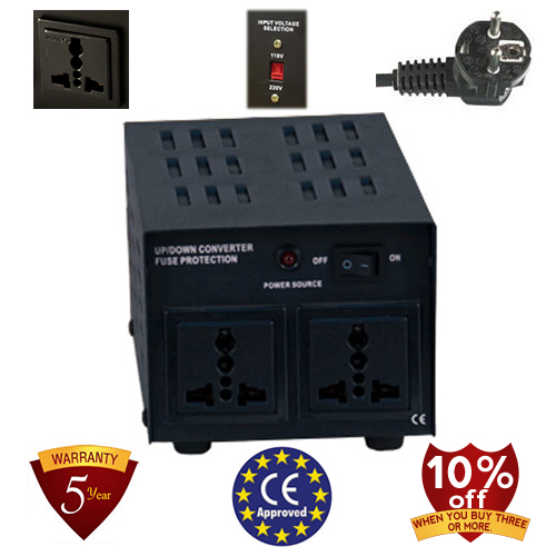 TC-750B 750 Watt Step Up/ Down Voltage Converter Transformer, 5 Year Warranty, Fuse Protection 110 to 220 or 220 to 110 - 110/120/220/240 V