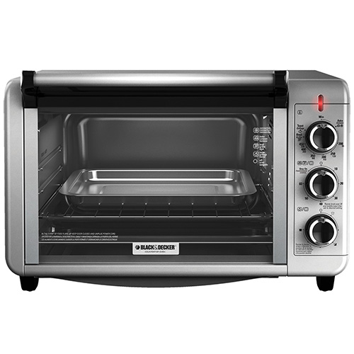 Black and Decker TO3210SSD Toaster Oven - 220 Volt 240 Volt 50 Hz - Silver Color - Large Size - Four Function Available - To Use Outside North America