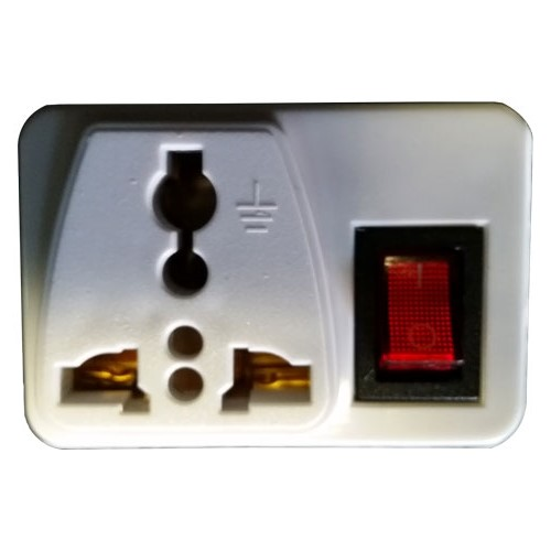 WSS103 - European / Asian 2 Round Pin Universal Plug Adapter with On/Off Switch