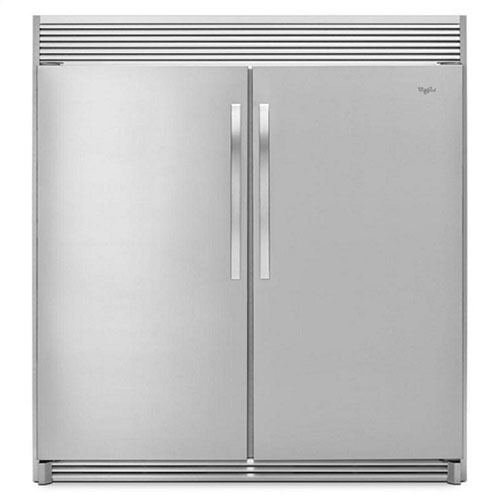 Whirlpool 5VEL88TRAS and 5VEV188N 220 - 240 Volt 50 Hz 18 Cu. Ft. Stainless Steel Sidekick Set