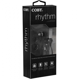 Coby CVE-125 Tangle-Free Flat Cable Metal Stereo Earbuds