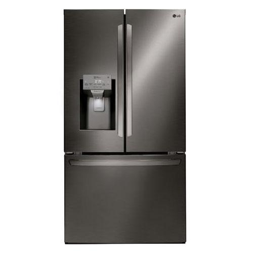 LG LFXC22526D 22.1 Cu Ft French Door Counter Depth Refrigerator - Black Color - Refurbished Version