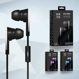 GenTek G4 Stereo Earbuds with in-line microphone