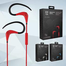 GenTek T5s Wireless Slim Athletic Earbubs with in-line mic