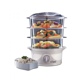 Russell Hobbs 21140  3 Tier Food Steamer - 800 Watt of Power  Capacity - Steams Rice, Vegetables and Fish Whilst Retaining Maximum Nutrients and Vitamins