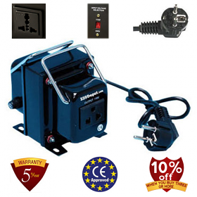 TC-2000A 2000 Watt Step Down Voltage Converter Transformer, 5 Year Warranty, Fuse Protection 220 to 110