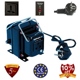 TC-750A 750 Watt Step Down Voltage Converter Transformer, 5 Year Warranty, Fuse Protection 220 to 110 V