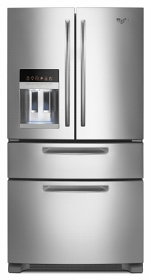 Whirlpool 5GFX257AA 220 volt French Door Stainless Steel Refrigerator - 220-240 Volt 50 Hz Large Size - Four Door